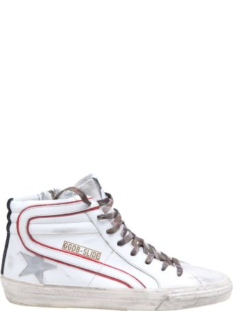 Golden Goose Slide Sneakers In White Leather