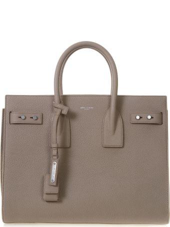 Saint Laurent Sac De Jour Taupe Leather Tote Bag