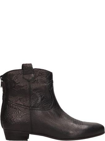 Marc Ellis Black Leather Texan Ankle Boots