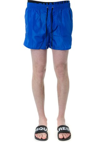 Dsquared2 Blue And Black Logo Print Swim Shorts In Technical Fabric