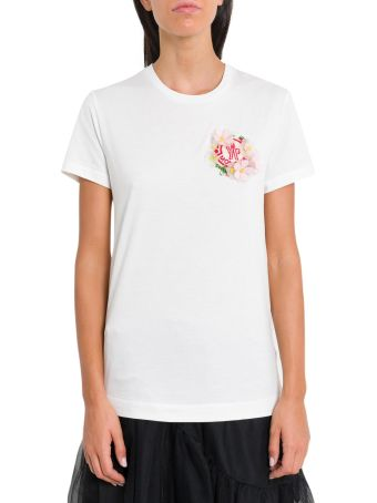 Moncler Genius White T-shirt With Logo And Application By Simone Rocha