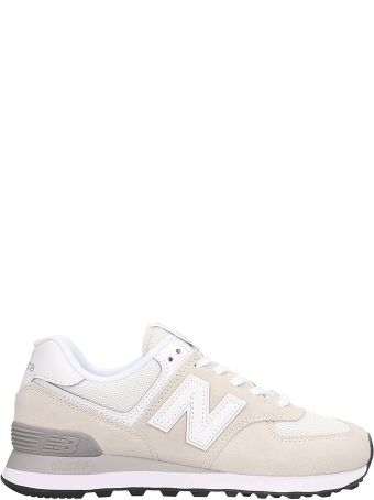 New Balance Suede And Canvas White 574 Sneakers