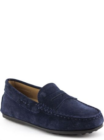 Tod's Junior Gommino In Blue Suede
