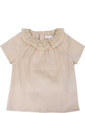 Chloé Pink Ruffled Neck Cotton Blouse