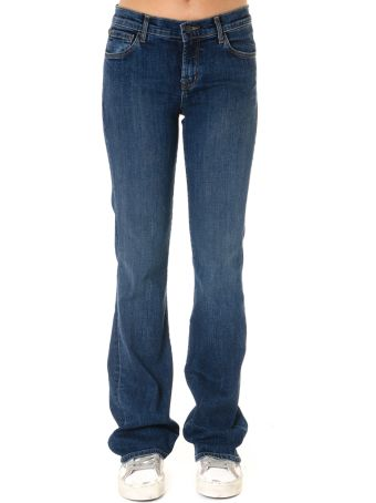 J Brand Low Rise Jeans In Dark Blue Cotton