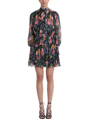 Zimmermann Black Floral Frill  Dress