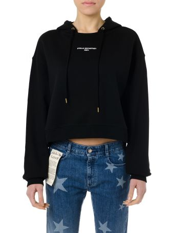 Stella McCartney Black Cotton Hoodie Logo Sweatshirt