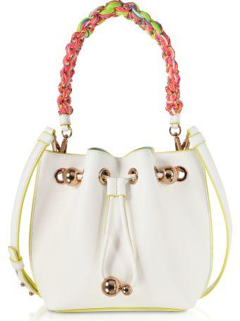 Sophia Webster White & Yellow Leather Romy Mini Bucket Bag