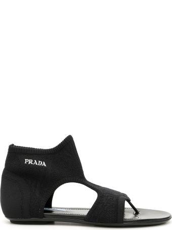 Prada Stretch Sock Sandals With Logo