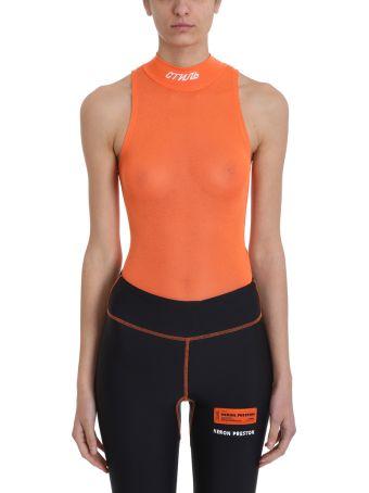 HERON PRESTON Orange Turtleneck Fitted Stretch-jersey Body