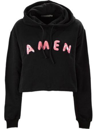 Amen Black Cotton Cropped Sweatshirt