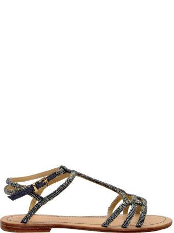 Malìparmi Maliparmi Pewter Beads Flat Sandals
