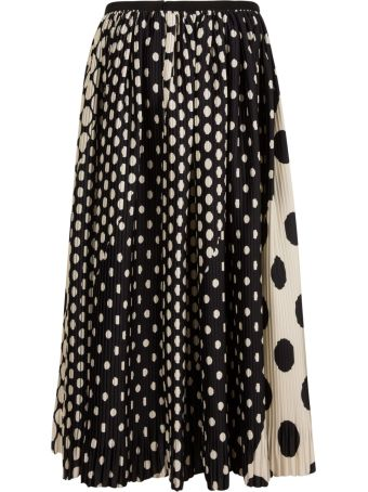 Dries Van Noten Dotted Print Pleated Skirt