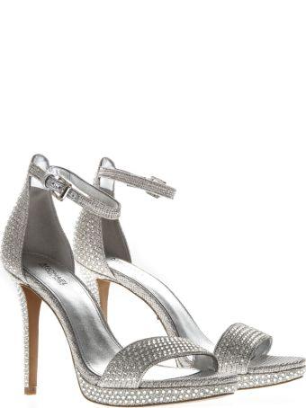 MICHAEL Michael Kors Hutton Silver Stoned Sandals