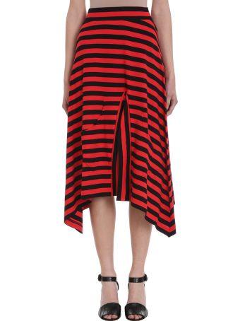Sonia Rykiel Asymmetric Jupe Stripe Red Black Cotton Midi Skirt