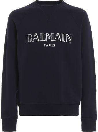 Balmain Balmain Logo Print Cotton Sweatshirt Rh11679i0516ub