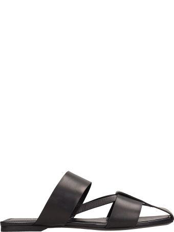 Jil Sander Black Leather Flat Sandals