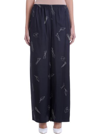Theory Black Silk Pull On Printed Wide Leg Trousers