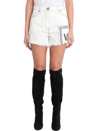Versace Logo Denim Shorts