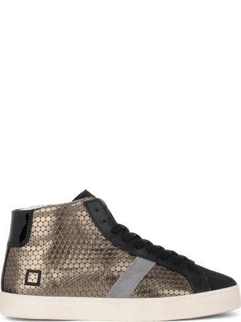 D.A.T.E. Hill High Pong Black And Golden Leather Sneakers