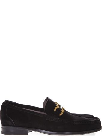 Salvatore Ferragamo Black Suede Gold Clamp Loafers