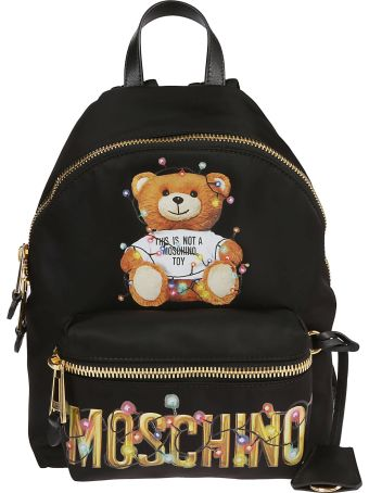 Moschino Bear Logo Patch Backpack