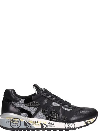 Premiata Black Leather And Fabric Roxane Sneakers