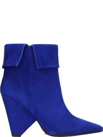 Anna F. Blue Suede Ankle Boots