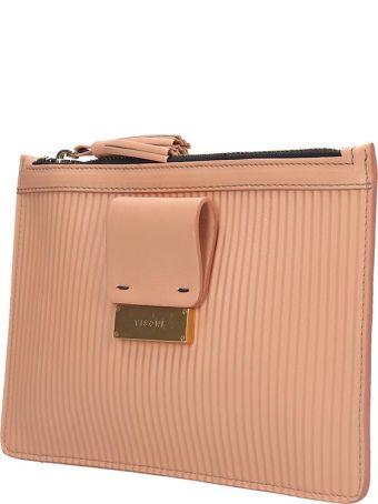 Visone Kim Clutch In Rose-pink Leather