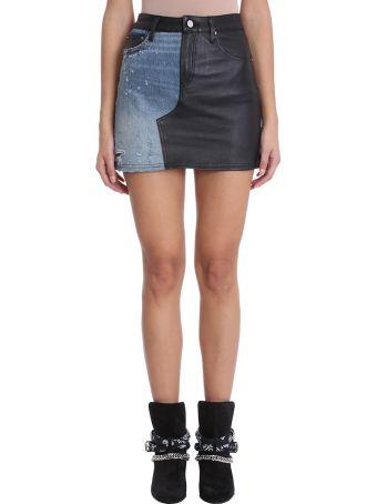 AMIRI Black Leather And Blue Denim Short Skirt