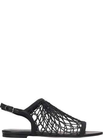 Sonia Rykiel Black Canvas Flat Sandals