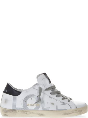 Golden Goose White Sneakers Love Print In Leather