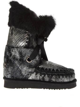 Mou Eskimo Laced Up Metalic Black & Grey Leather Boots