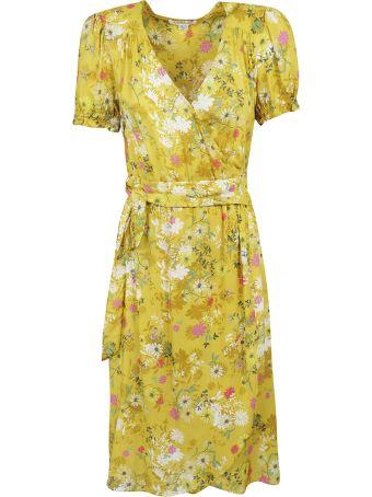 Velvet Floral Print V-neck Dress