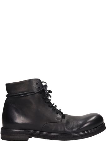 Marsell Black Leather Zucca Boots