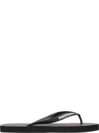 Dsquared2 Black Rubber Flip-flops