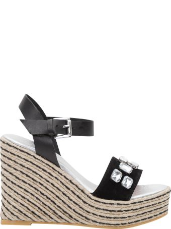 Pollini Rope Wedege Sandals With Crystals Applications