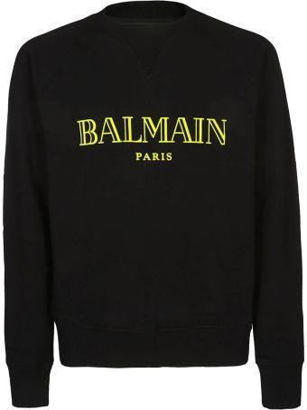 Balmain Yellow Balmain Logo Black Sweatshirt Rh11679i052opa