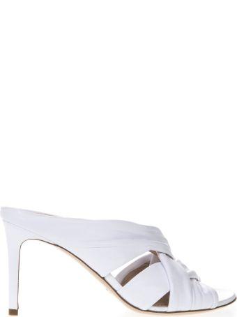 Aldo Castagna 80mm White Nappa Leather Sandals