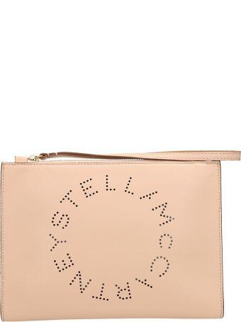 Stella McCartney Perforated Logo Clutch Zip Closure