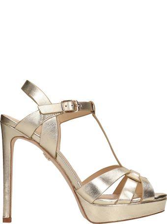 Lola Cruz Gold Leather Sandals