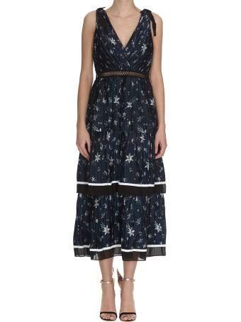 self-portrait Star Satin Printed Midi Dress