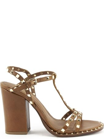 Ash Lips Low Sandal In Brown Leather