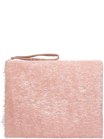 Anniel Big Clutch Furry Lurex Pink Pochette