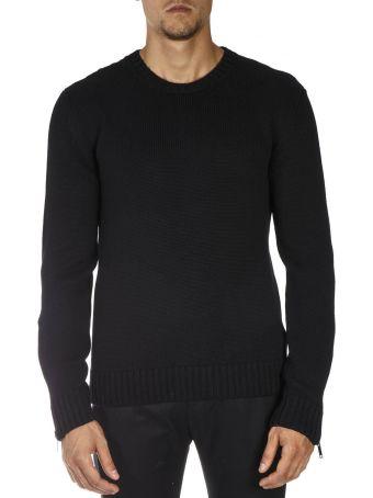 Les Hommes Black Wool Ribbed Knitwear