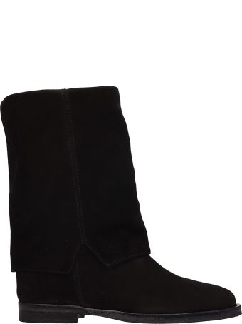 Via Roma 15 Black Suede Wedge Boots