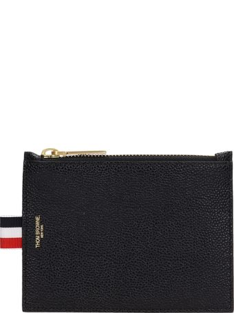 Thom Browne Black Leather Small Coin Purse