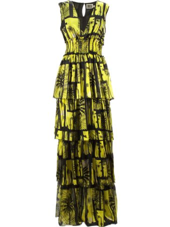 Fausto Puglisi Black And Yellow Silk Long Dress
