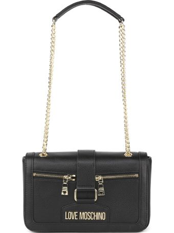 Love Moschino Black Faux Leather Zippers Bag