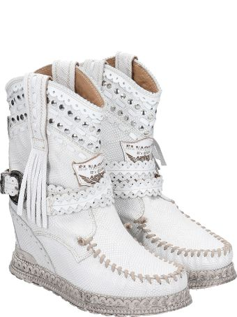 El Vaquero Yara  Low Heels Ankle Boots In White Leather